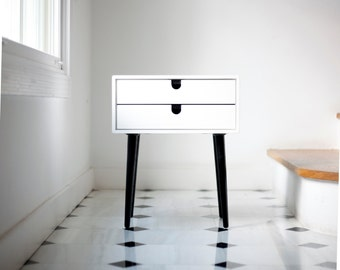 White nightstand Table / Bedside Table Style Mid-Century 1 or 2 drawers in solid oak