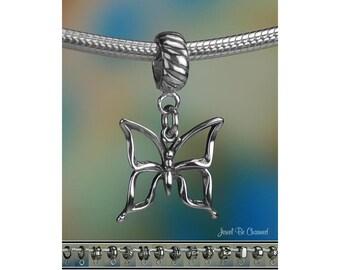 Silver Butterfly Charm or European Charm Bracelet .925 Sterling Silver