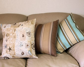 "Decorative Throw Pillows, Sand and Surf - Sea Shells, Tan Striped or Aqua Blue Striped Beach House Decor, 18"" Pillow Covers, - B1-1"