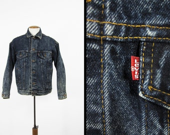 Vintage Levi's Dark Acid Wash Denim Jacket Red Tab Trucker New Wave Made in USA - Med