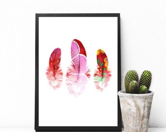 """Instant Download, feather print, bohemian art print, feather art print, printable art, boho print, home decor wall art  """"Bohemian Feathers""""."""