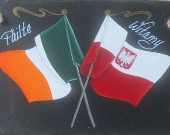 IRISH/POLISH FLAGS Slate, Hand Painted and Personalized