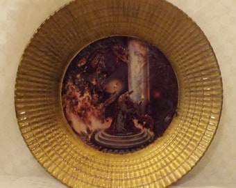 """Vintage Ribbed Brass """" Dragon Master"""" Collectible Plate"""