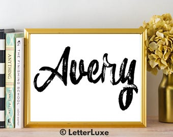 Avery Name Art - Printable Gallery Wall - Living Room Printable - Digital Print - Bedroom Decor - Last Minute Gift for Mom or Girlfriend