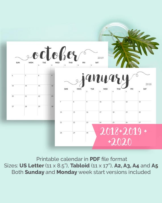 2018 Printable Calendar 2018-2019 Calendar Printable Large Calendar  Printable Black and White Calendar A5, A4, A3, A2, US Letter, Tabloid