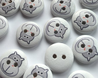 Wood hippo buttons, hippo picture buttons, cute buttons, pack of 10, 15mm round buttons, baby knit buttons, craft buttons, animal buttons