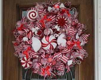 Candy Cane/Peppermint Christmas Wreath