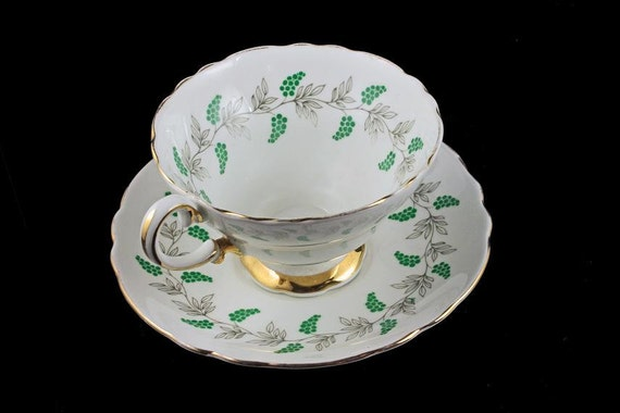 Teacup and Saucer, Crown Staffordshire, England, Bone China, Gray Vines, Green Grapes, 22 Kt. Gold Trim