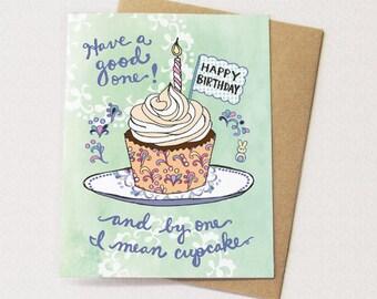 Cupcake Birthday Card - Cupcake card, happy birthday card