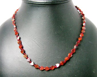 Red Stone Heart Beaded Necklace with Red Seed Bead Spacers - Item 605