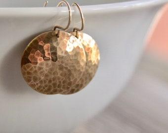 Disc Earrings * Boho Earrings * Brass Earrings * Hammered Earrings + Metal Earrings + Brass Disc * Golden Earrings * Gold Disc Earrings