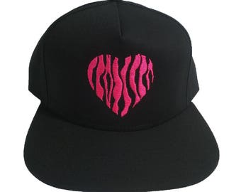 Pink Tiger Stripes Heart Embroidered Black 5 panel cap