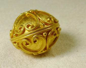 Solid 22 Karat Gold Focal Bead DIY for Designers Rare Handmade in Bali Artisan Granulation Artisan 22 K Pendant