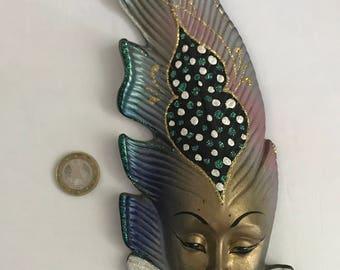 Masque vénitien murale en céramique en forme de plume