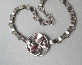 1920's Vintage German Art Deco Machine Age Chrome Necklace