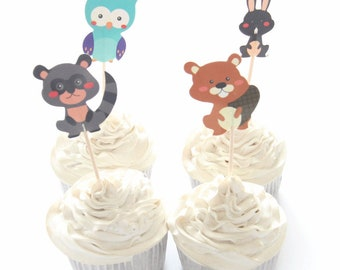 24 pc Beaver Rabbit Raccoon Owl Party Supplies Cardboard Cupcake Toppers - 4 assorted Designs with wooden sticks SR0530