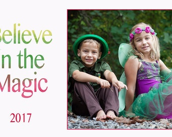 Believe in the Magic Holiday Card Template {Instant Download}