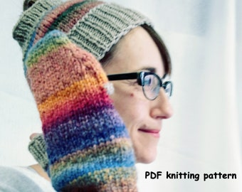 texting gloves pattern knit ponytail hat with texting mittens knit pattern for winter gloves and headband commuter mitts fingerless OOAK