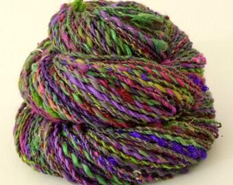 Handspun Yarn -  Hand Spun Merino Bamboo Silk  Yarn - Art Yarn- 1.75oz, 114yd, 16WPI