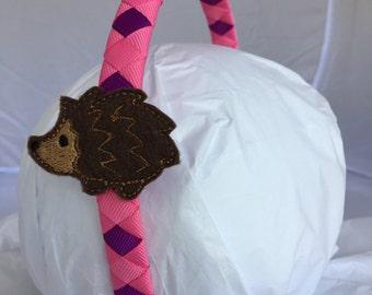 Headband- Hedgehog Headband - hedgehog- pink purple Headband- woodland critter- hedhehog gift- stocking stuffer- christmas gift for girl-