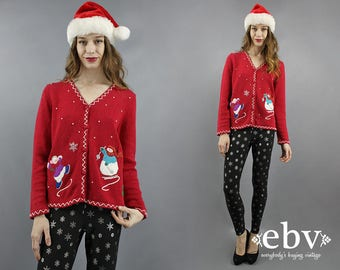 Snowman Cardigan Ugly Christmas Sweater Tacky Christmas Sweater Red Cardigan Ugly Xmas Sweater Tacky Xmas Sweater Christmas Party S M