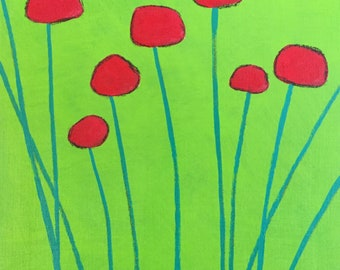 Original wall art painting, flowers, lime green, red, billyball