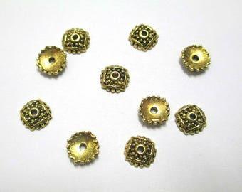 20 bead caps 8mm antiqued gold tone metal