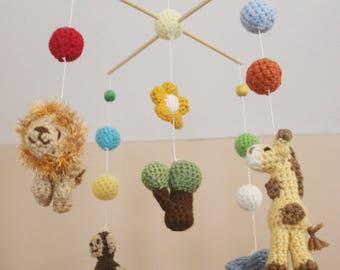 Crochet Safari Animals Crib Mobile (Ready To Ship)