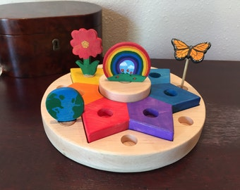 Waldorf Birthday Ring Sun Candle Holder Stacker Tiered