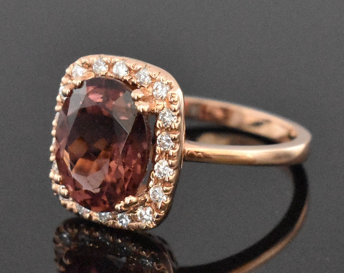 14K Rose Gold Tourmaline and Diamond Ring | Engagement Ring | Wedding Ring | Statement Ring | Diamond Halo | Handmade Fine Jewelry