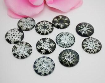 Lot 10 Cabochons glass snowflake pattern black 20mm glue - SC72020-