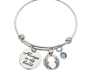 Personalized Always In My Heart Bracelet - Engraved Jewelry - Expandable Bangle - Miscarriage Loss Remembrance - Memorial Jewelry - 1117