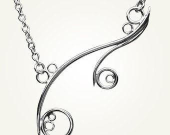 Spiral Necklace, Sterling Silver, Handcrafted, Bubble, Wave, Swirl, Loop. GREEK ISLE NECKLACE.