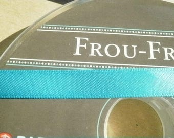 Two meters width 16 mm, turquoise satin ribbon