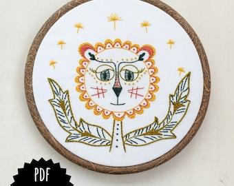DANDY LION - pdf embroidery pattern, embroidery hoop art, DIY stitching, dandelion flower, little lion, yellow and orange lion flower