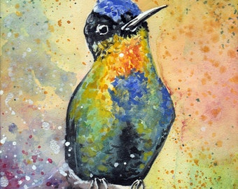 Original Colorful Hummingbird Watercolor Painting Finished One of a Kind Artwork