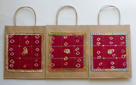 Gift Bags Indian Wedding Gift Bags Kraft Gift Bags Red silk