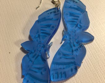 Blue Etched Moth Earrings