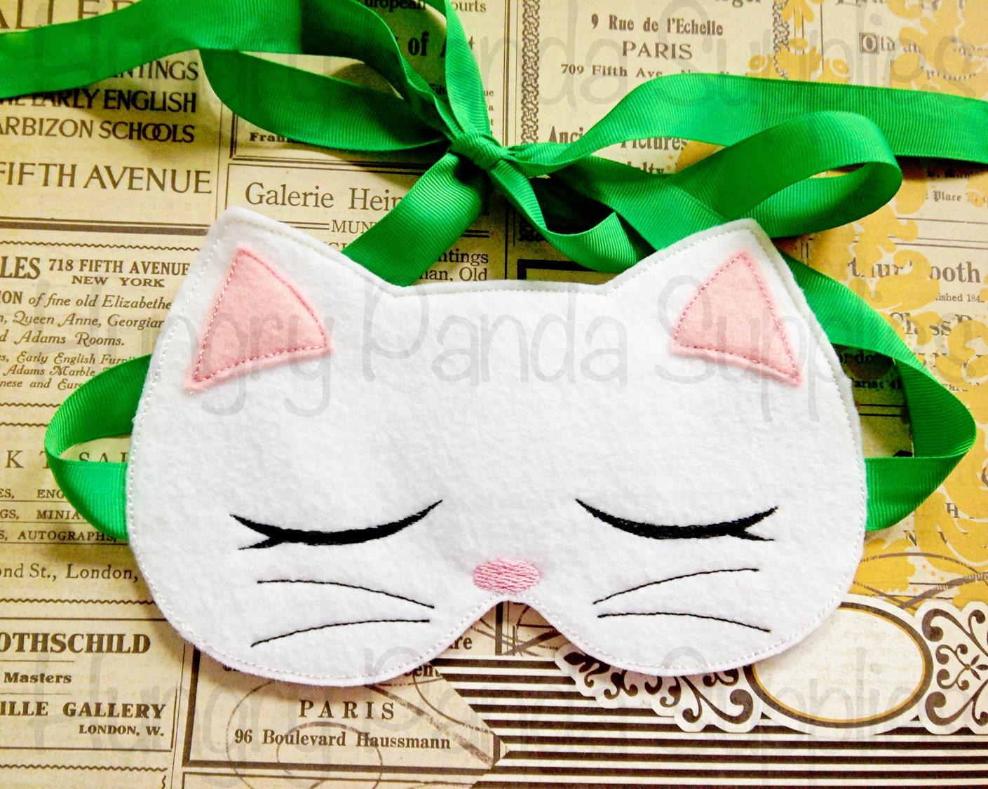 Kitty Cat Sleep Mask Embroidery Design sleep mask machine