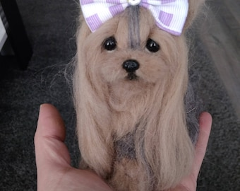 Needle felted yorkshire terrier dog