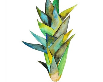 Sansevieria Plant Watercolor Print