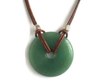 Green Aventurine Necklace - Gemstone Leather Necklace - BOHO Necklace - Positive Energy