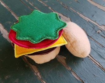 Play Food , Felt Food , Hamburger Play Set , Bun , American Cheese , Onion , Tomato , Lettuce , Sold Individually or as a Set
