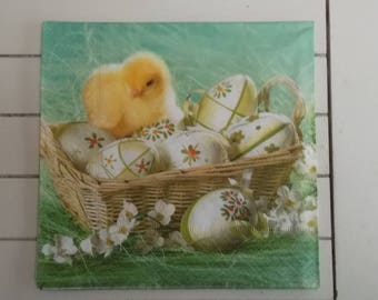 set of 2 napkins papierserviette chick with eggs