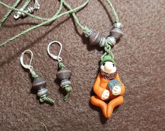 """Gnome """"Norman"""" Necklace and Earrings"""