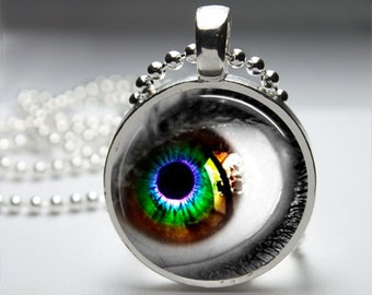 Eerie Eye Round Pendant Necklace with Silver Ball or Snake Chain Necklace or Key Ring
