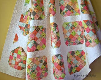 Twin Size Quilt, Handmade Twin Quilt, Twin Bedding, Floral Blanket, Modern Twin Quilt, Quilts For Sale, Patchwork Quilt, Ready to Ship