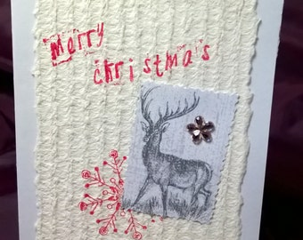 OOAK Christmas card, hand made, envelope is included, size 114x162 mm, Scrapbooking.