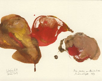 Pears cadence 4/4. ORIGINAL acrylic monotype painting. Pears still life, Size A5 (8 x 6 inches). Original artwork by Catalina