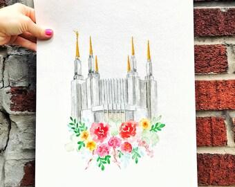 Washington D.C. Temple watercolor - LDS Temple watercolor